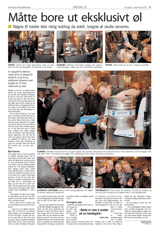 Utdrag fra Grimstad Adressetidende, 06.12.2012